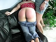 Red head with big tits goes otk for a hard spanking on the sofa - lovely reddened cheeks