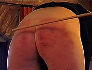 Teen slut brutally spanked paddled and caned in humiliating revealing positions - deep stripes