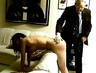 Wife punished on the sofa - hard humiliating spanking and caning on her bright red ass