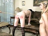 Two naked sweeties caned hard over the coffee table - searing stripes and marks
