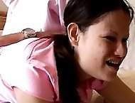 Tears of pain and humiliation for teen with panties removed - severe bare bottom spanking