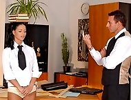 Sexy schoolgirl getting humiliated and punished in an office