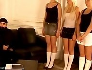 Abuse, humiliation and a severe caning for 3 Russian girls