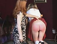 Blonde schoolgirl twists in agony at the lashing by Mistress Gemini