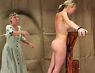 Lucia gets a stern lashing for showing a young man her thigh in this hot ass film.  The headmistress orders Lucia to remove her dress, ties her to the